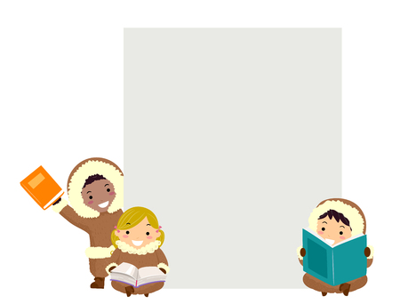 Illustration of Stickman Kids Eskimo Holding Books with a Blank Board Behind