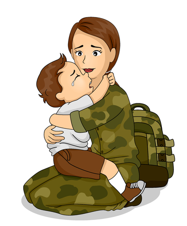 Illustration of a Kid Boy Crying and Hugging His Mom, a Soldier Leaving for War