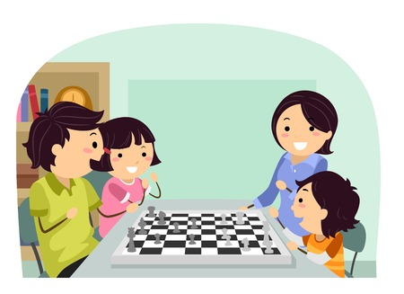 Illustration of Stickman Family Playing Chess at Home 스톡 콘텐츠