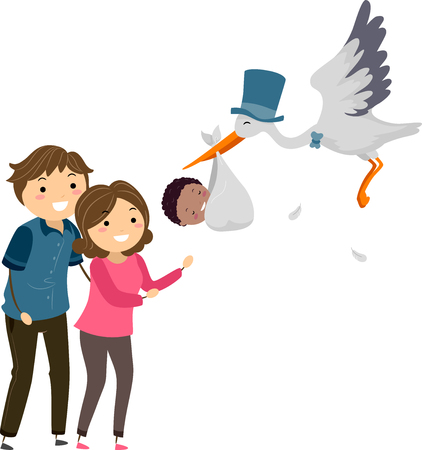 Illustration of Stickman Foster Parents Welcoming an African American Baby Delivered by a Stork