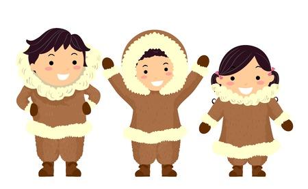 Illustration of Stickman Kids Eskimo Wearing Brown Furry Winter Clothes Stock Illustration - 93880223
