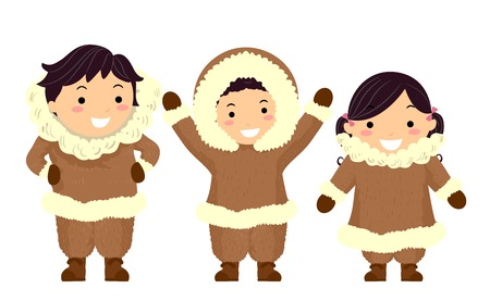 Illustration of Stickman Kids Eskimo Wearing Brown Furry Winter Clothes Stock Photo