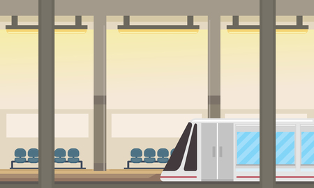 Illustration of a Subway Train in a Subway Station