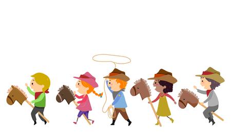 Ilustracja przedstawiająca Stickman Kids Cowboy jeżdżąca zabawka na koniu i przędzenia liny