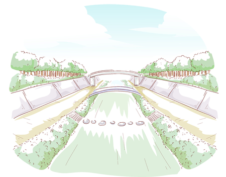 Illustration of a Water Way and a Bridge in the Countryside Stock Photo