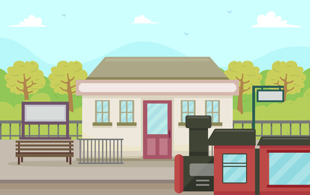 Illustration of a Rural Train Station with a Red Train About to Pass By