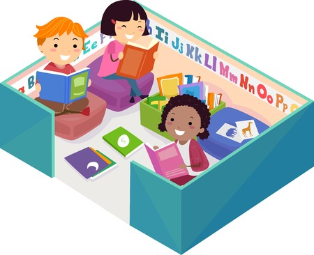 Illustration of Stickman Kids Reading Books Inside a Reading Pen Corner Stock Photo