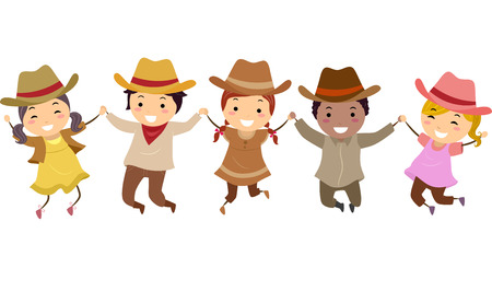 Illustration of Stickman Kids Wearing Cowboy Costume with Hat Jumping High Up