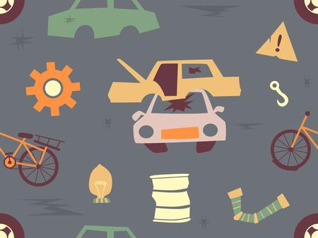 Nahtlose Hintergrund-Illustration von den Junkyard-Elementen gemacht von den Zähnen, von beschädigten Autoteilen und von Fahrrad