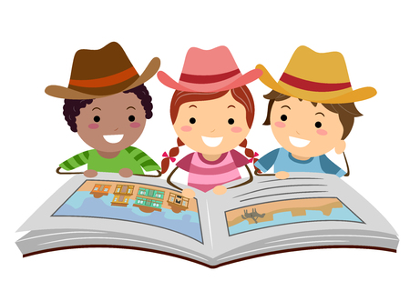 Illustration of Stickman Kids Cowboy Wearing Cowboy Hats and Reading Cowboy Story Book
