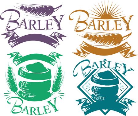 Illustratie van vier gerst ontwerpelementen in paars, bruin, groen en blauw Stockfoto