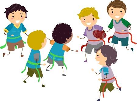 Illustratie van Stickman Kids-jongens die Vlagvoetbal spelen Stockfoto