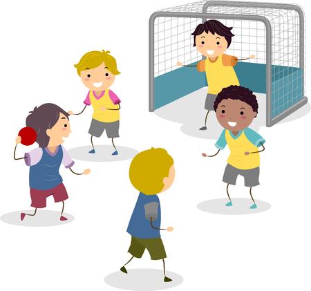 Illustratie van Stickman Kids jongens spelen handbal in de buurt van het doel Stockfoto
