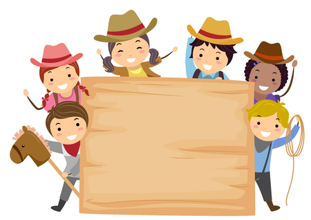 Illustration of Stickman Kids Wearing Cowboy Costume and Holding a Toy Horse, Rope and Blank Wooden Board