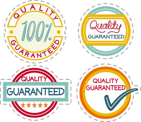 Illustration of Four Quality Guaranteed Labels for Products