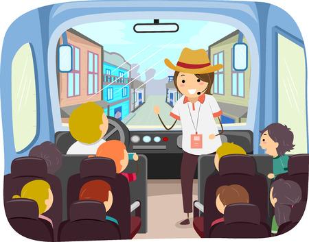 Ilustração de crianças Stickman dentro de uma excursão de ônibus Explorando a cidade velha de oeste com guia turístico