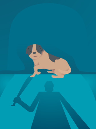 Illustration of a Silhouette of a Man with a Bat and a Scared Dog in the Dark