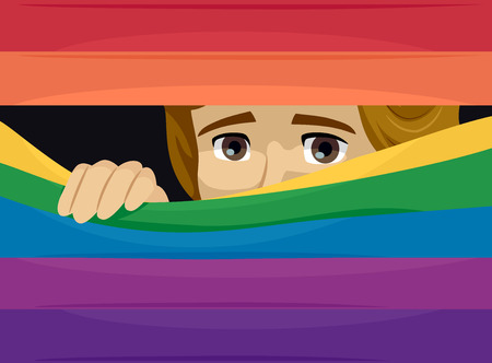 Illustration of a Gay Man Peeking Behind a Rainbow Flag Blinds Feeling Scared