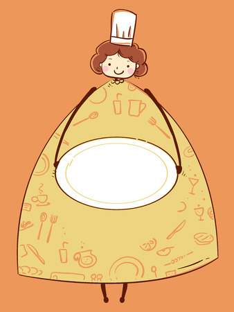 Illustration of a Girl Chef Carrying a Blank Plate Frame for Background Stock Photo