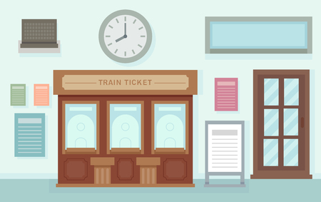 Illustration of a Train Ticket Office Interior Inside a Train Station Stock Illustration - 94616332