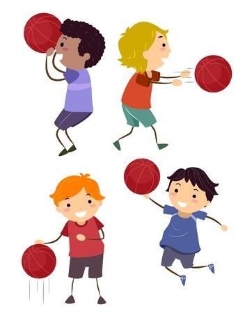 Illustration of Stickman Kids Boys Doing Basketball Basics from Shooting, Passing, Dribbling and Layup Standard-Bild