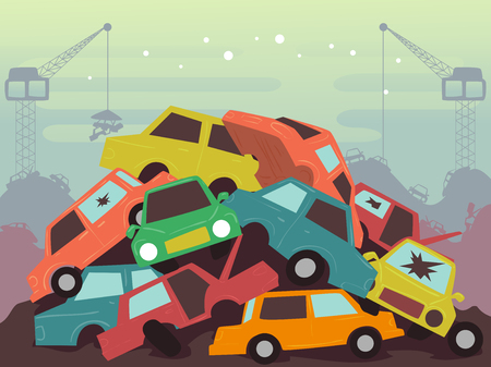 損傷した車や重機の山を持つジャンクヤードシーンのイラスト
