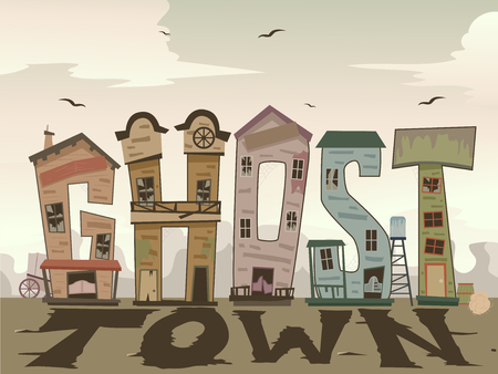 Illustration of a Wild West Ghost Town Lettering with Broken Windows and Doors