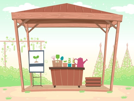 Illustration of a Gazebo Housing a Presentation Stand and Workshop Table with Seedlings and Gardening Tools Stock Photo