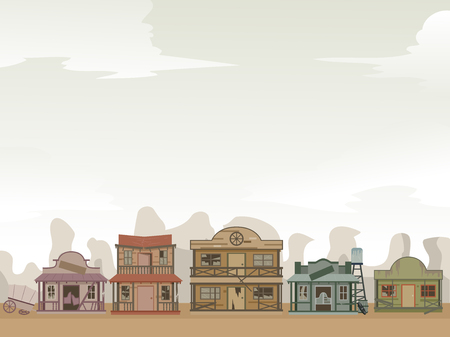 Background Illustration of Wild West Ghost Town Setting with Broken Doors and Windows