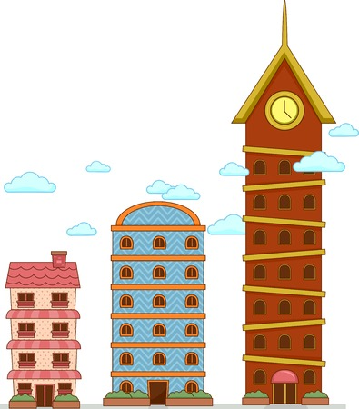 Illustration of Buildings to Show Degrees of Comparison from Tall, Taller to Tallest