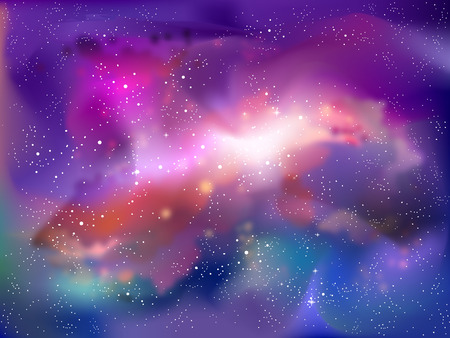 Background Illustration of a Fantasy Galaxy in the Outer Space