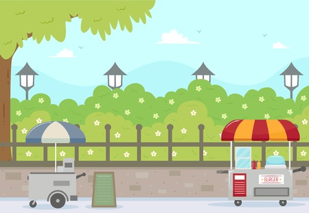 Illustration of Unmanned Burger Carts in the City Park with a Tree, Shrubs and City Lights Stock Photo