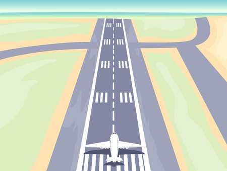 Illustration of an Airplane on Runway
