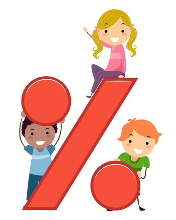 Illustration of Stickman Kids with a Percent Symbol for Math Class