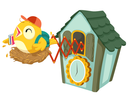 Illustration of Cuckoo Clock with a Student Bird with Books and Bag Ready for School