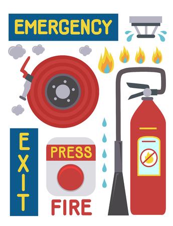 火災警報器、消火器、消火ホース、スプリンクラーなどの火災緊急要素の図 写真素材