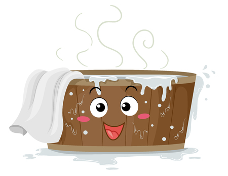 Illustration of a Wooden Hot Tub or Barrel Mascot Full of Hot Water and with White Towel