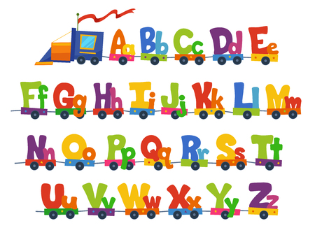 Illustration of a Train Carrying the Alphabet in Big and Small Letters Stock Photo