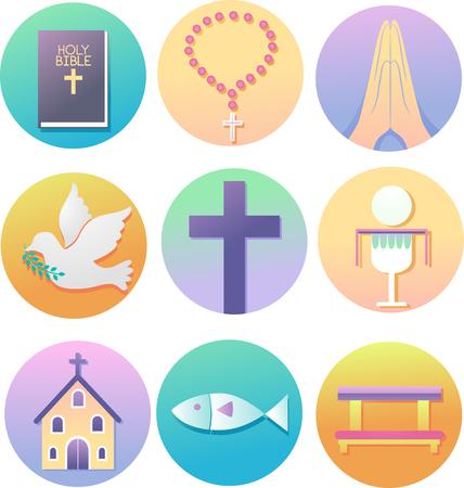 Illustratie van christelijke iconen uit de Bijbel, rozenkrans, hand in gebed, duif, kruis, eucharistie, kerk, vis tot knielende bank