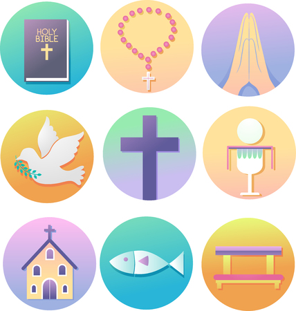 Illustration of Christian Icons from the Bible, Rosary, Hand in Prayer, Dove, Cross, Eucharist, Church, Fish to Kneeling Bench