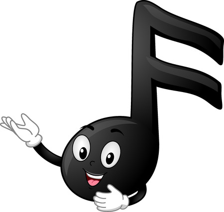 Illustration of a Black Sixteenth Note Mascot Presenting Something Фото со стока