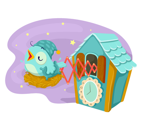 Illustration of Cuckoo Clock Chirping During Bed Time with the Bird Wearing Night Cap and Holding a Pillow