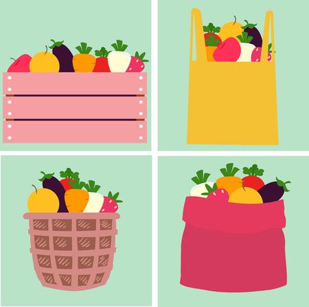 Illustration de différents fruits et légumes sur une caisse, un sac, un panier et un sac en bois Banque d'images - 94926866