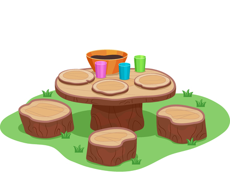 Illustration of a Mud Kitchen Table with Wooden Stools and Plate and Mud Stock Photo