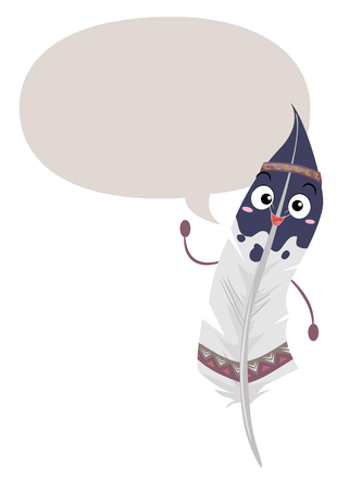 Illustration of a Native American Feather Mascot with a Blank Speech Bubble