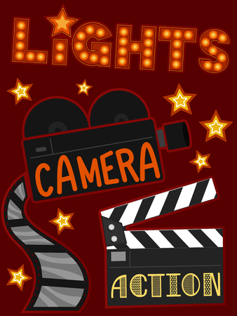 Illustration of Entertainment Elements to Represent Lights, Camera and Action