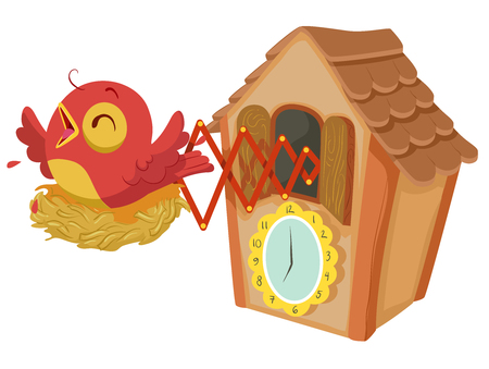Illustration of a Wooden Cuckoo Clock with a Red Bird Chirping Every Hour Stock Illustration - 94908374
