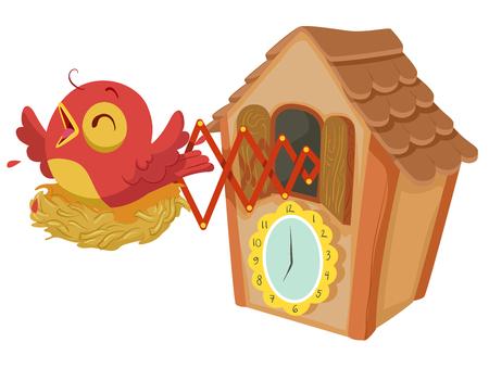 Illustration einer hölzernen Kuckucksuhr mit einem roten Vogel, der jede Stunde zwitschert