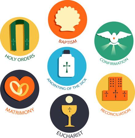 Ilustracja przedstawiająca siedem sakramentów Kościoła katolickiego od chrztu, bierzmowania, Eucharystii, pokuty, namaszczenia chorych, święceń kapłańskich do małżeństwa