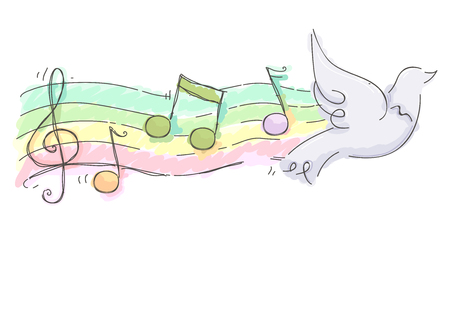 Illustration of a Flying White Dove with Musical Notes on Staff Behind